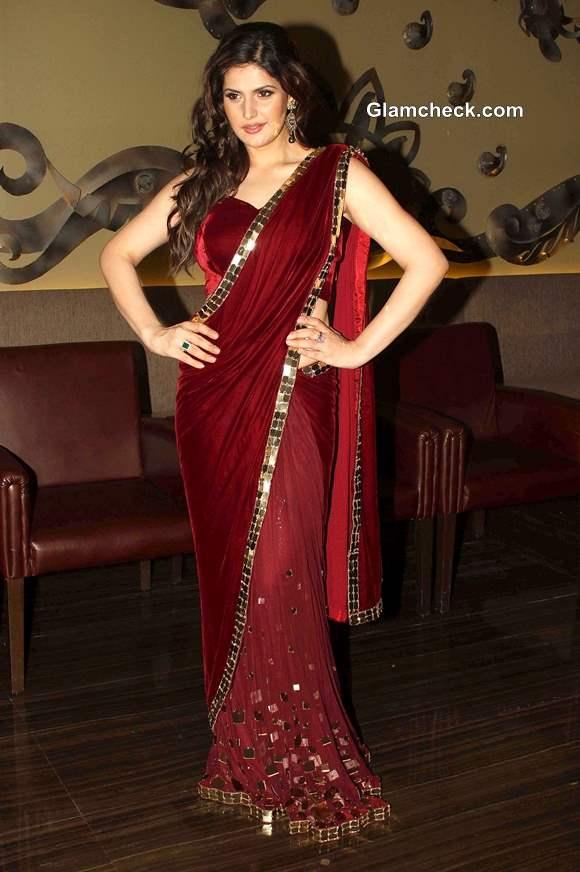 Zarine Khan in  Sari at Wedding Lounge 2013