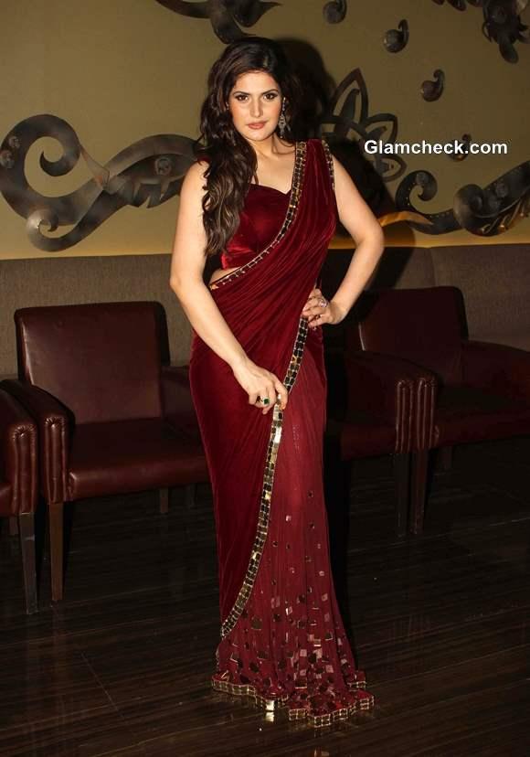 Zarine Khan in maroon Sari Wedding Lounge 2013