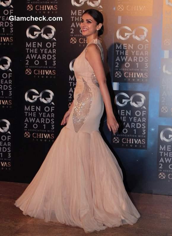 Aditi Rao Hydari in Gaurav Gupta Gown at 2013 GQ Man of the Year Awards