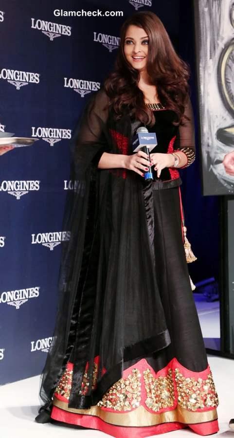 Aishwarya Rai Bachchan Launches Longines Watch Collection in Black Lehenga