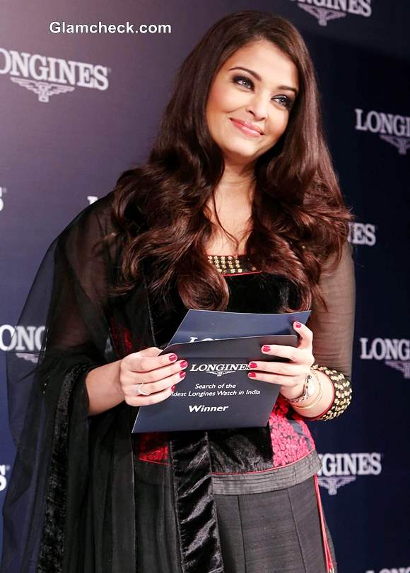 Aishwarya Rai Bachchan Launches Longines Watch Collection in Royal Black Lehenga