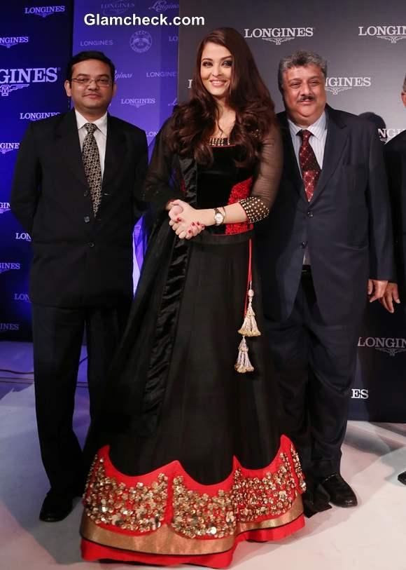Aishwarya Rai Bachchan in Royal Black Lehenga Launches Longines Watch Collection