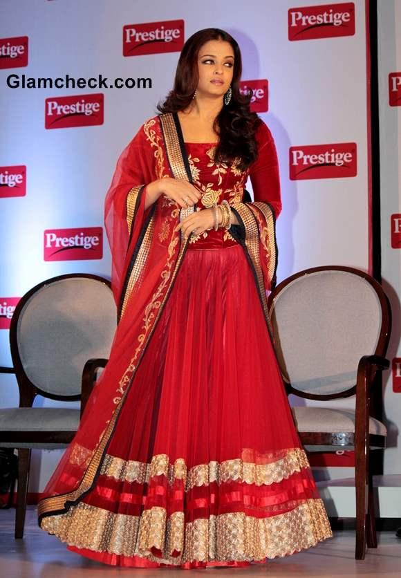 Aishwarya Rai in Red Lehenga at Prestige Event 2013