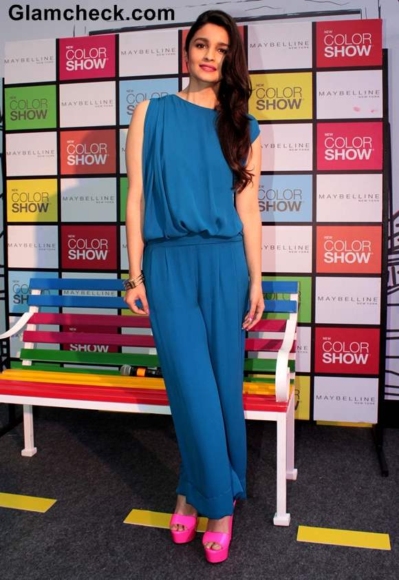 Alia Bhatt in Blue Jumpsuit at Maybelline Color Show