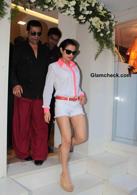 Ameesha Patel iin White Shorts and White Shirt pictures