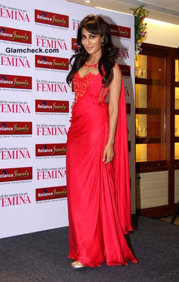 Chitrangada Singh in Sonakshi Raj red outfit at Femina Bridal Cover Unveiling