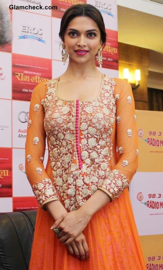 Deepika Padukone  in Orange Anarkali 2013 pictures
