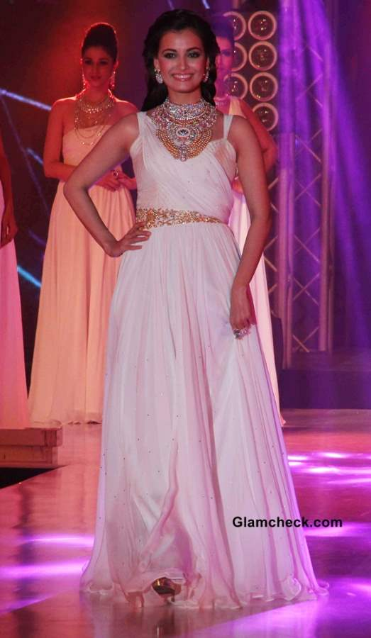Dia Mirza in white gown at the 1st Bullion and Jewellery Awards