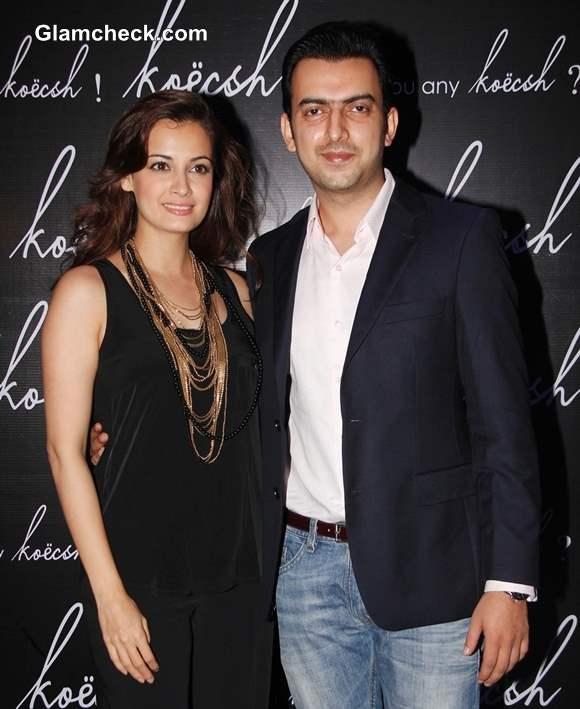 Dia Mirza with Sahil Sangha 2013 at Koecsh Launch Party
