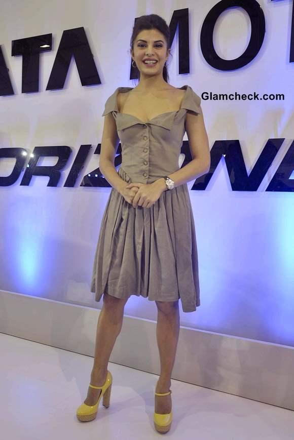 Jacqueline Fernandez in a dress at Tata Nano at Autocar Performance Show 2013
