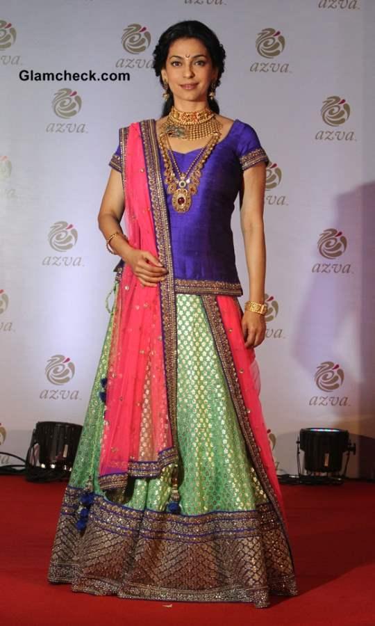 Juhi Chawla in lehenga at Azva Bridal Jewellery launch