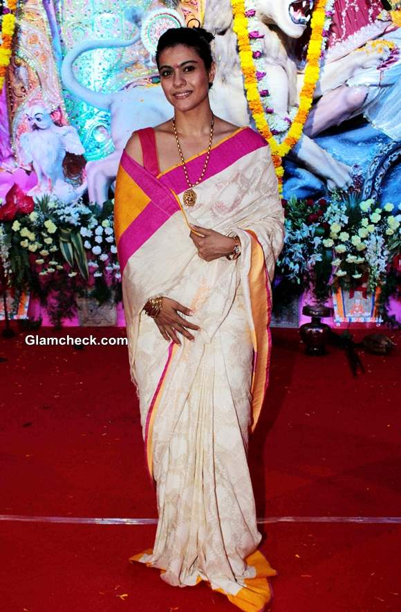 Kajol Traditional bengali Look Durga Puja 2013