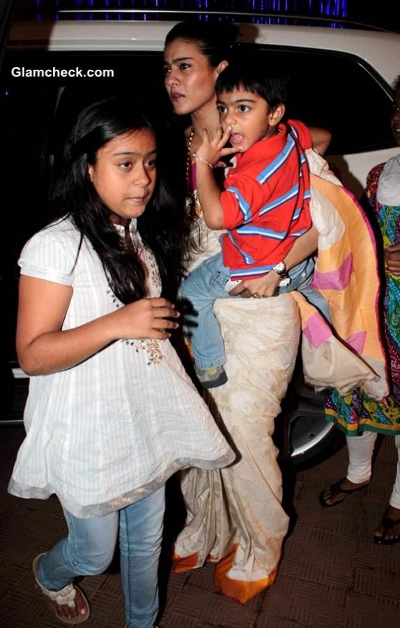 Kajol with daughter Nysa and son Yug at Durga Puja 2013
