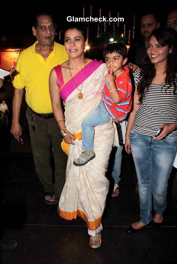 Kajol with son Yug at Durga Puja 2013