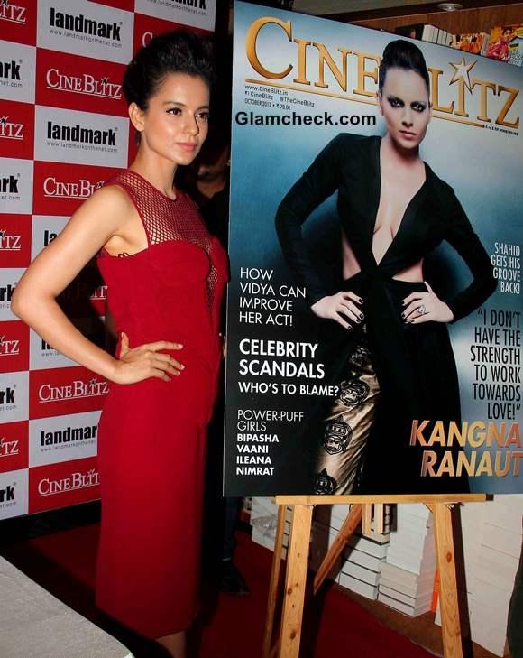 Kangana Ranaut Ravishing in Red Dress at Cine Blitx Magazine Unveiling