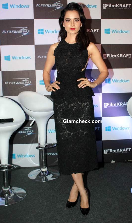 Kangana Ranaut in Black Lace outfit at Halloween Celebration 2013