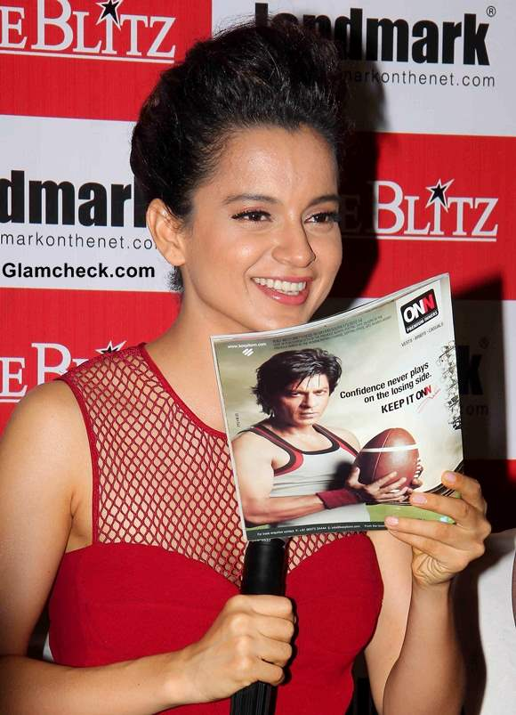 Kangana Ranaut in Red Dress Cine Blitx Magazine Unveiling