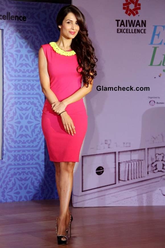 Malaika Arora Khan Pink Sheath Dress at Taiwan Excellence Campaign 2013