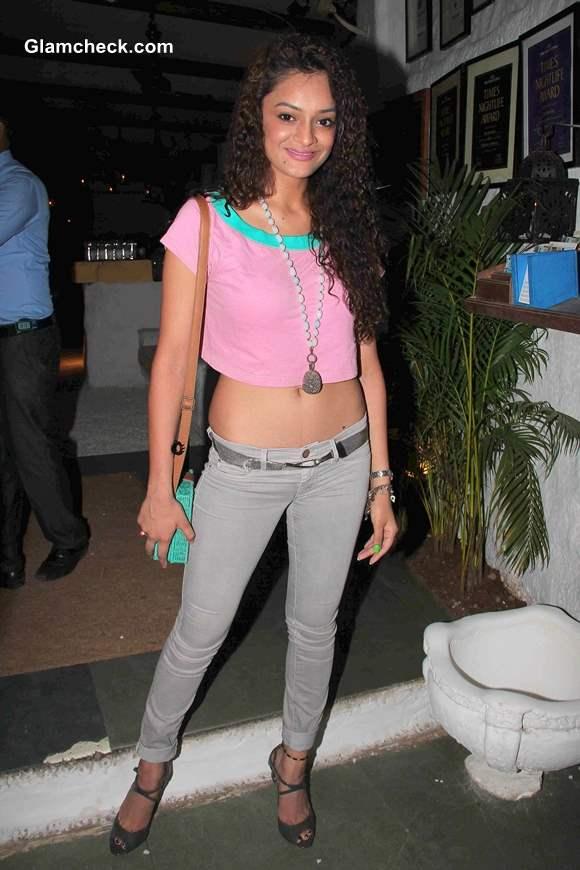 Model Tanvi in cropped top at Launch of tgitPOP in Mumbai