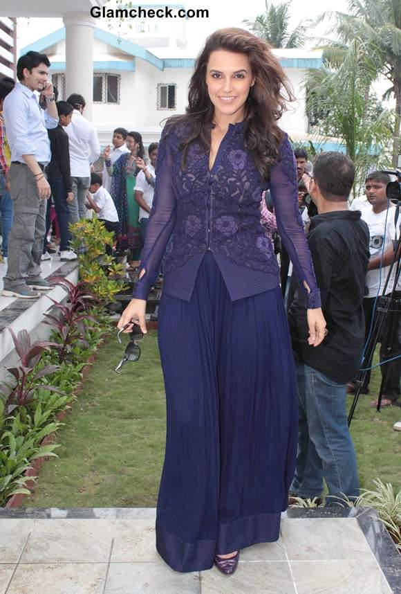 Neha Dhupia in Blue outfit at a Farmhouse Khopoli in Mumbai