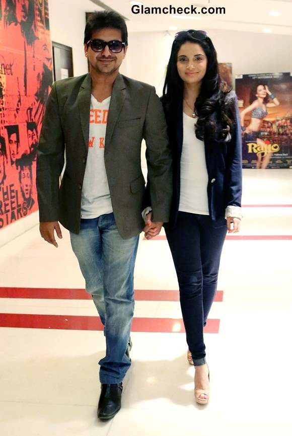 Pushkar Jog and Armeena Rana Khan during the promotion of the upcoming film Huff Its Too Much