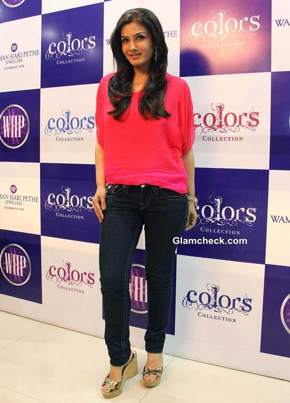 Raveena Tandon in pink and black