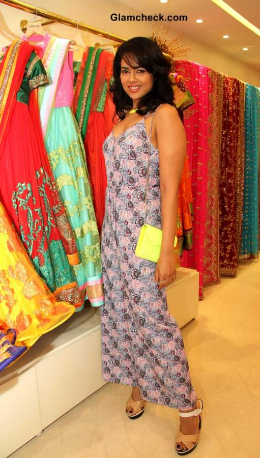 Sameera Reddy Sports Floral Jumpsuit at Neeta Lulla 2013 Bridal Collection Preview