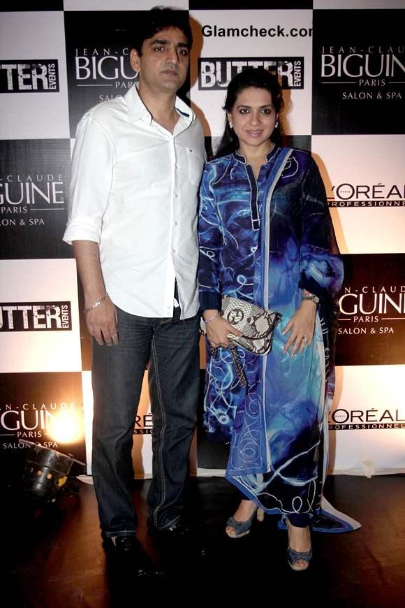 Shaina NC with her husband Manish Munot at Jean-Claude Biguine Salon Anniversary