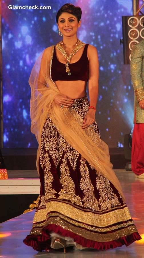 Shilpa Shetty Walks the Ramp in Maroon Lehenga at IBBS Fashion Show