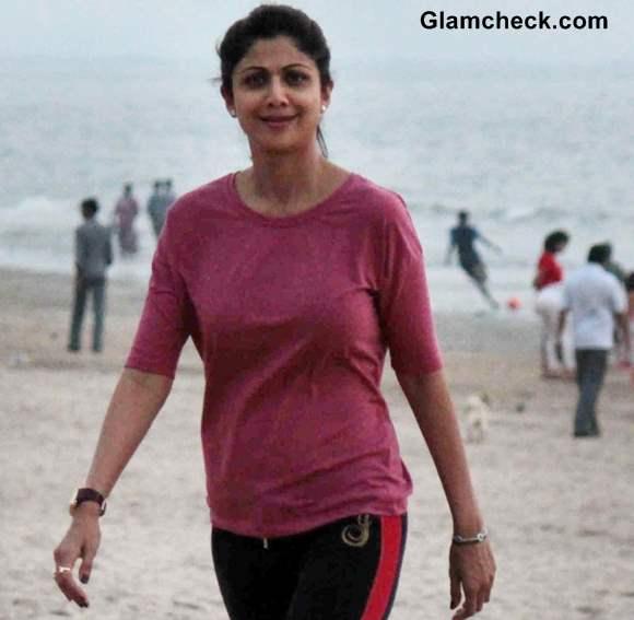 Shilpa Shetty at Juhu Beach