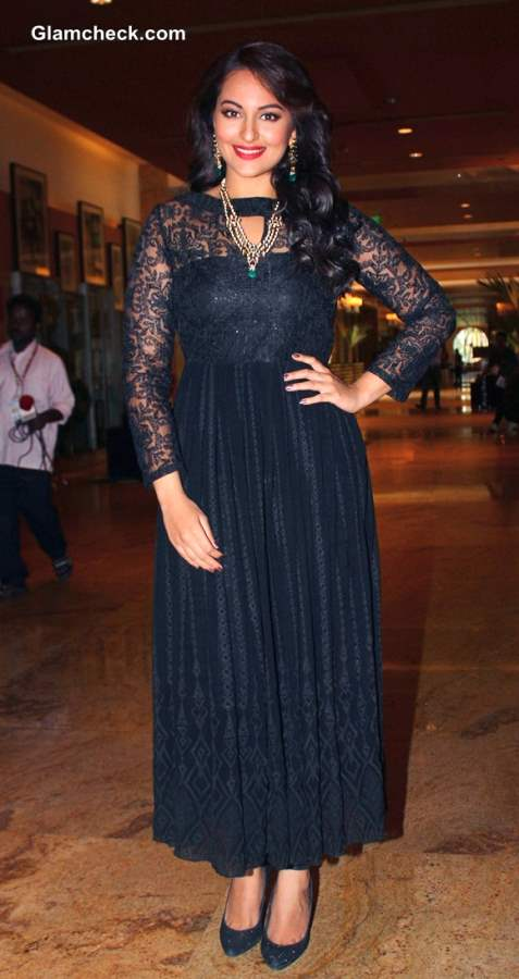 Sonakshi Sinha 2013 in Black Dress at IIBS Inaugural Event