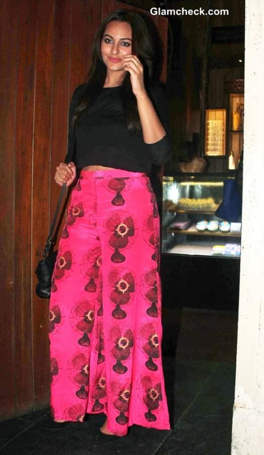 Sonakshi Sinha in Cropped Top Palazzo Pants at R... Rajkumar Wrap Up Party
