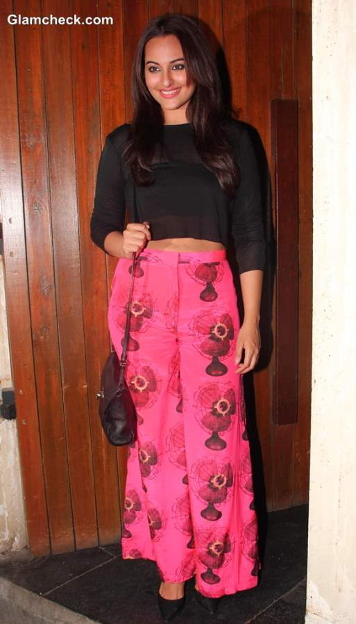 Sonakshi Sinha in Cropped Top and Palazzo Pants at R... Rajkumar Wrap Up Party