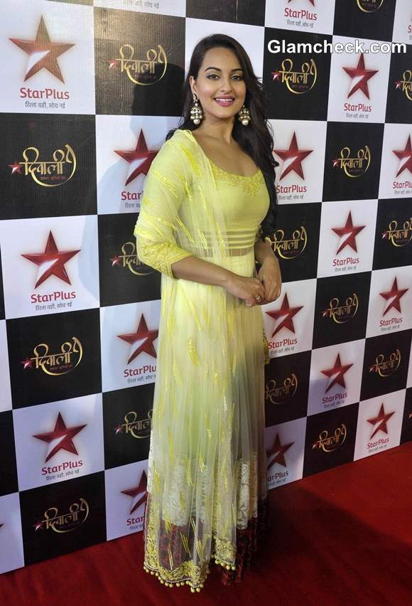 Sonakshi Sinha in Yellow at Star Plus Diwali Celebrations