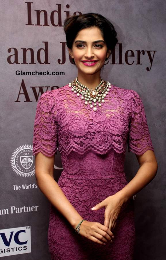 Sonam Kapoor in Dolce Gabbana Lace Dress 2013 pictures