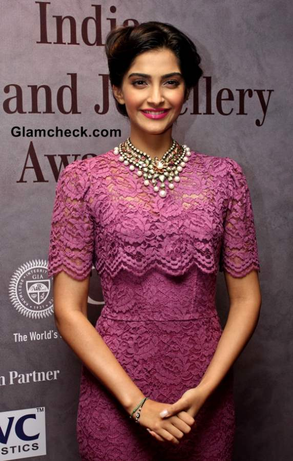 Sonam Kapoor in Dolce Gabbana Lace Dress Pictures at 40th India Gem and Jewellery Awards