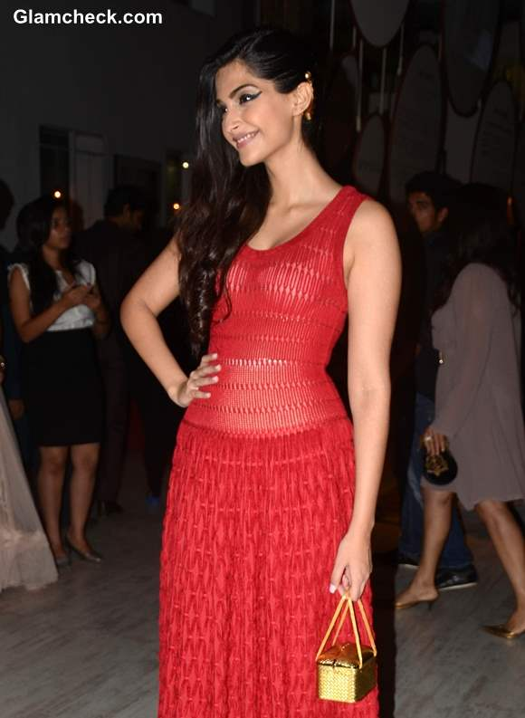 Sonam Kapoor in Red Gown at Le Mill Store Launch