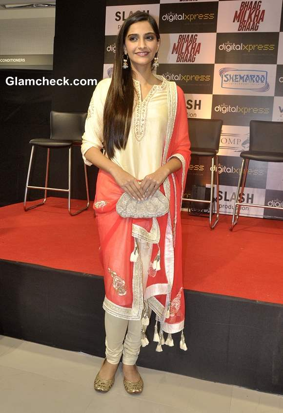 Sonam Kapoor in Salwar Kameez at the Launch of Bhaag Milkhaa Bhaag on Home Video