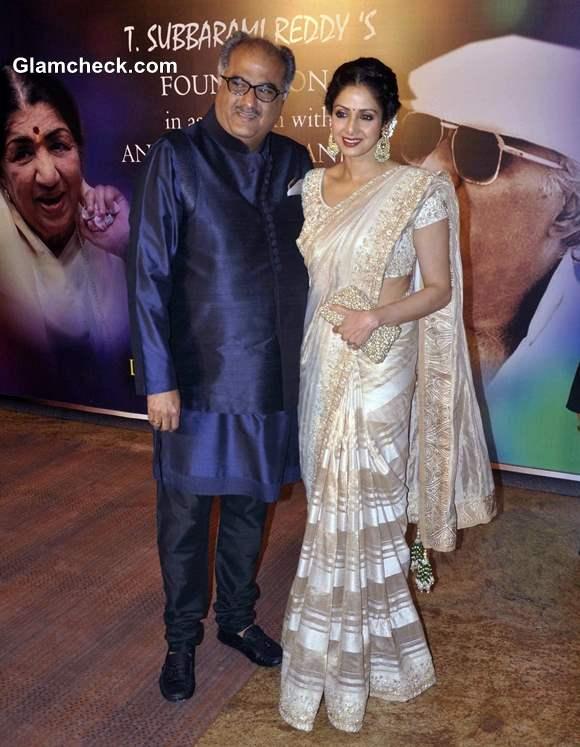 Sridevi and Boney Kapoor at 2013 Yash Chopra Memorial Awards