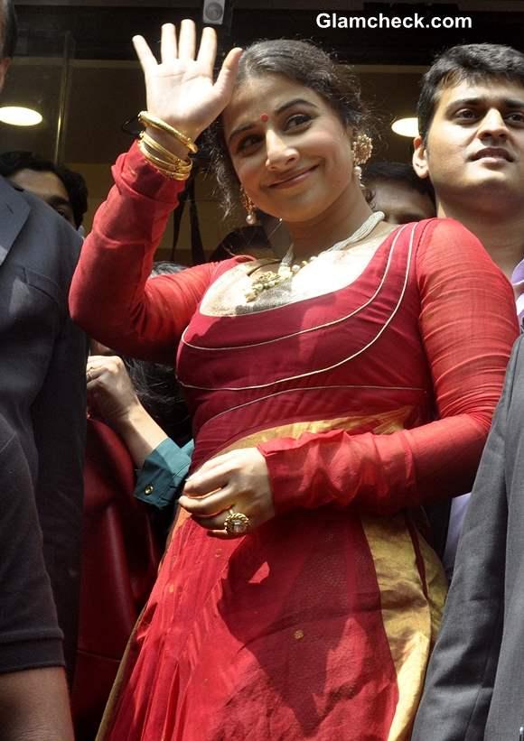 Vidya Balan at Ranka Jewellers Store in Red Salwar Kameez