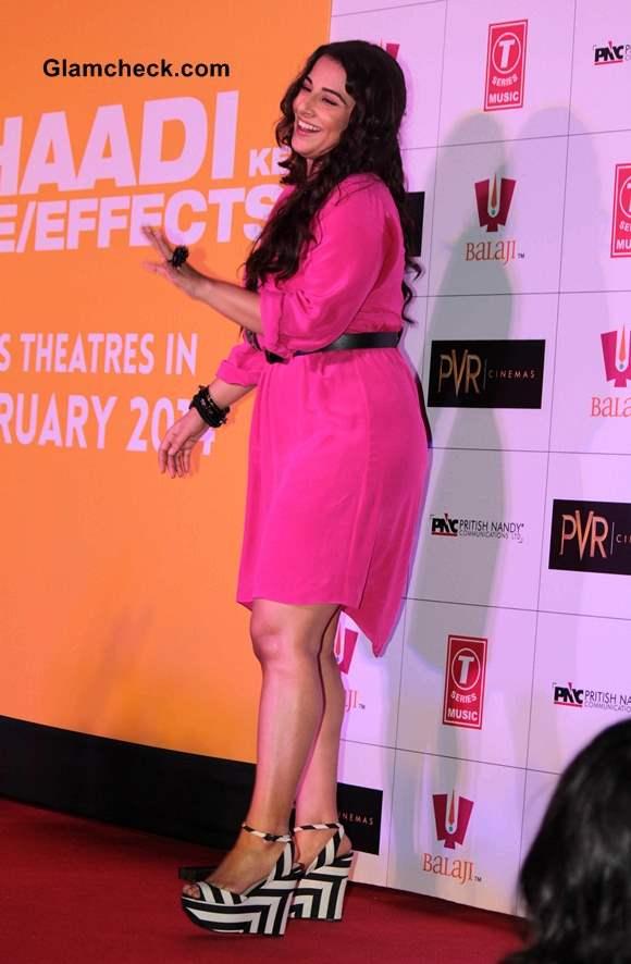 Vidya Balan in Pink Dress at Shaadi Ke Side Effects Trailer release
