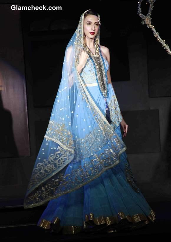 2013 Blenders Pride Fashion Tour Suneet Varma Blue Lehenga