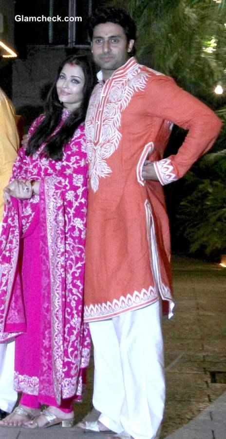 Abhishekh and Aishwarya Rai  Bachchan Diwali Party 2013