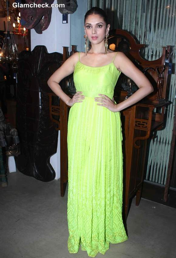 Aditi Rao Hydari 2013 in Fluorescent Gown 2013
