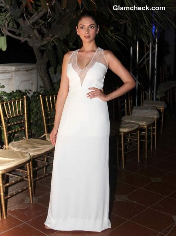Aditi Rao Hydari White Gown at Spanish Fashion Show 2013