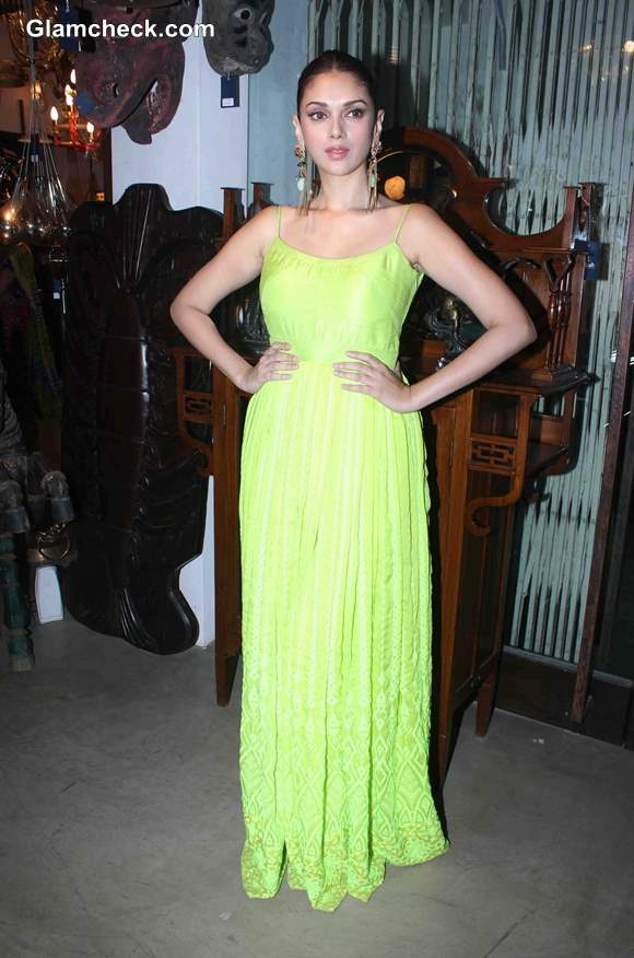 Aditi Rao Hydari in Fluorescent Green Gown and Statement Earrings