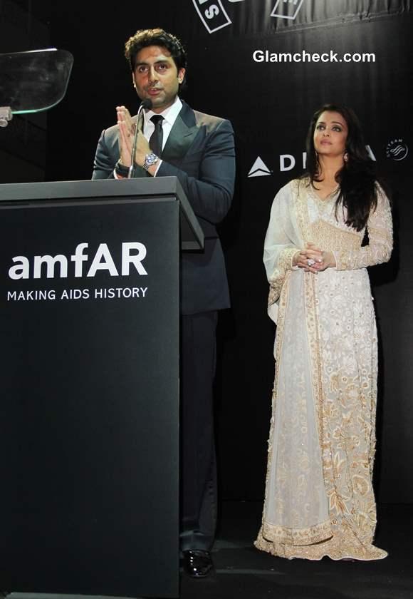 Aishwarya Rai and Abhishekh Bachchan at 2013 amfAR