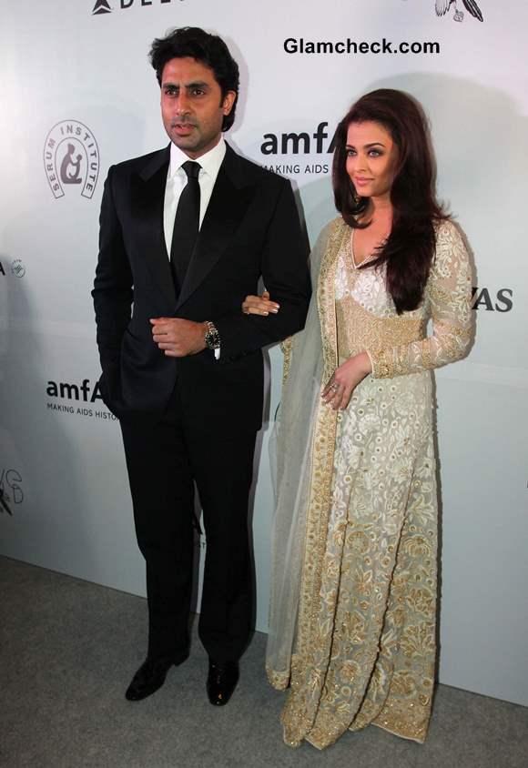 Aishwarya Rai and Abhishekh Bachchan at amfAR 2013