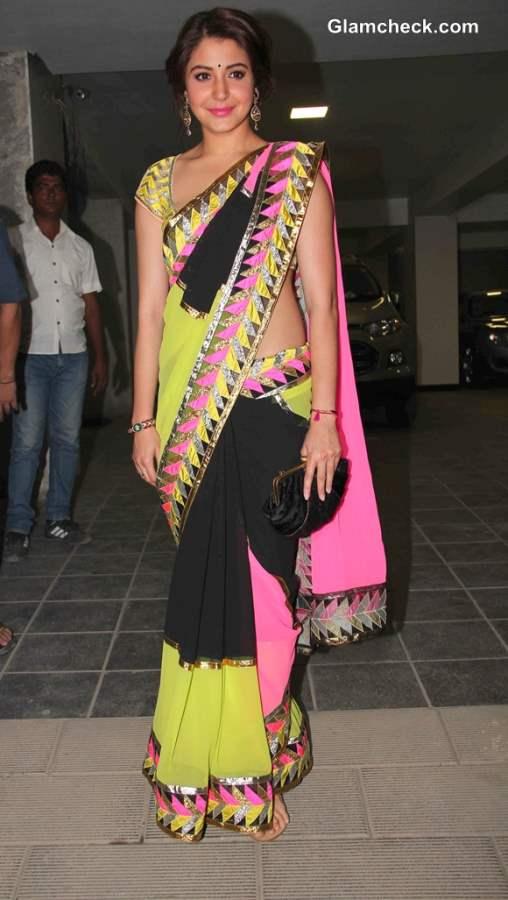 Anushka Sharma in  Sari at Aamir Khan Diwali Party 2013