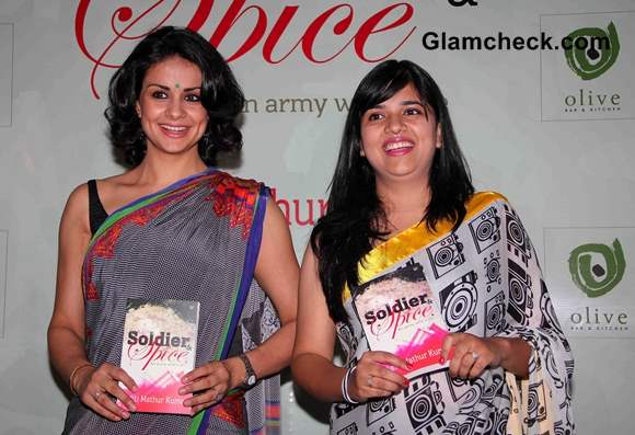 Author Aditi Mathur Kumar with Gul Panag at the launch of her book Soldier and Spice